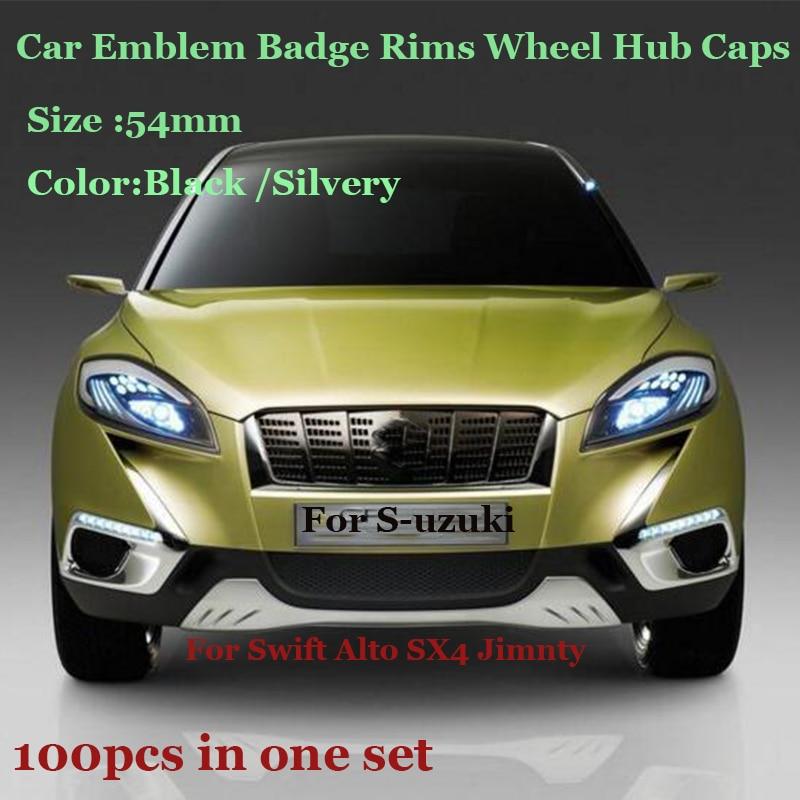 Großhandel preis 100pcs/set 54mm Für suzuki Swift Alto SX4 Jimnty Auto Emblem Rad hub abdeckung Auto abzeichen Felgen rad hub caps