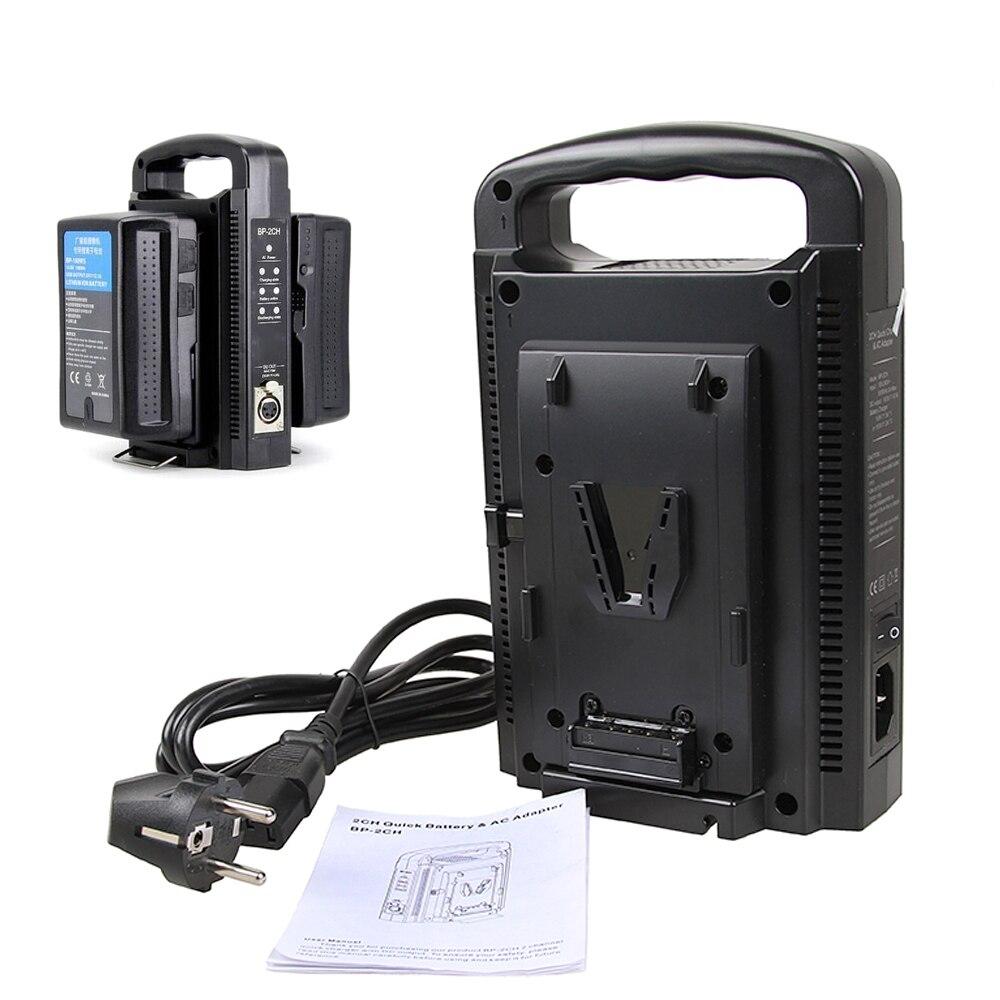 Batería de montaje en V BP-2CH cargador de batería rápido Dual y adaptador de CA para montaje en V de 14,4 V/14,8 V batería Sony BP-95W BP-150W BP-190W