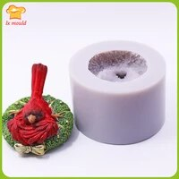christmas bird silicone moulds red bird flower link diy gift candle soap silicone molds
