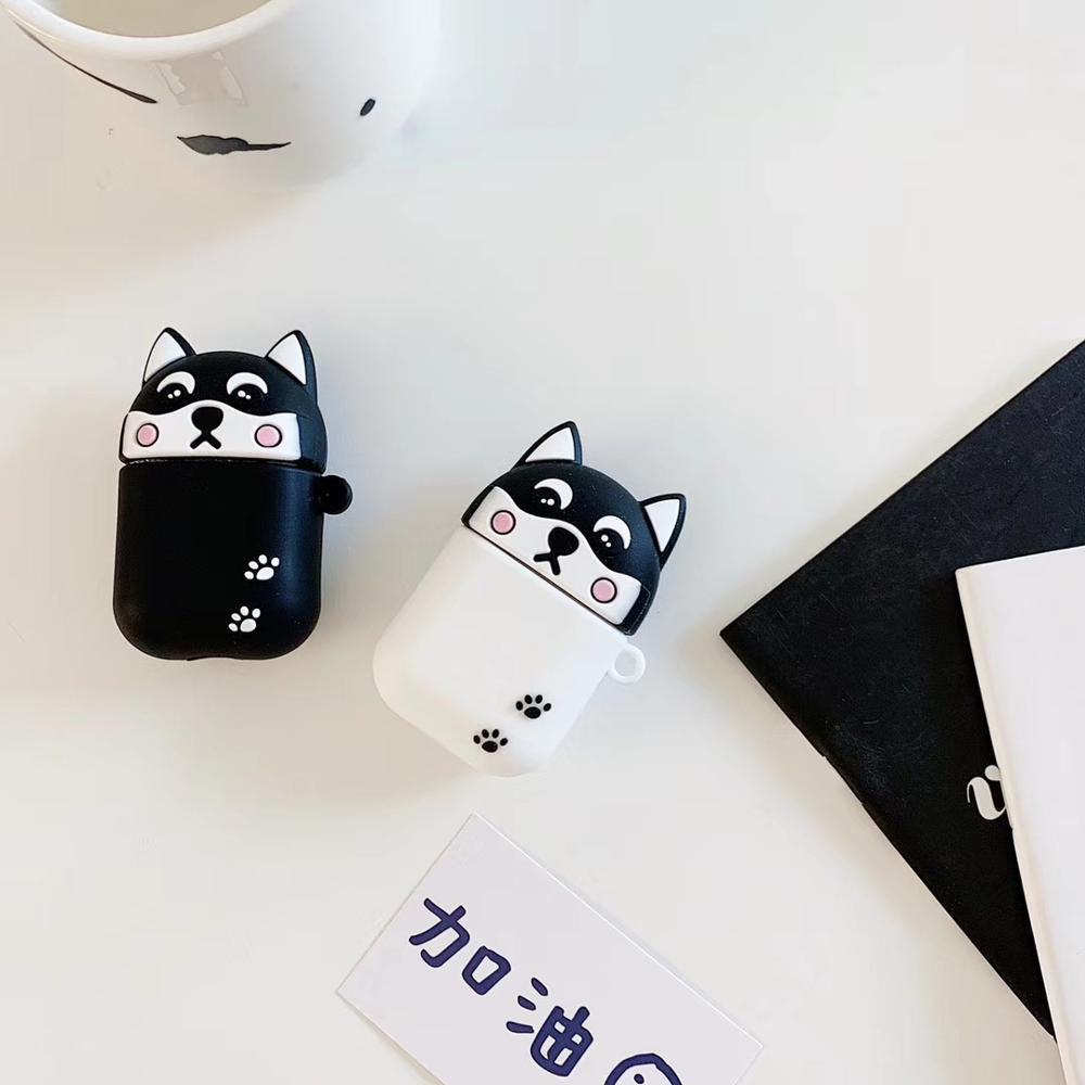 Funda para auriculares de silicona con caricatura 3D de perro Shiba Inu Husky para Apple, nueva funda para AirPods 1/2 Auriculares inalámbricos con bluetooth