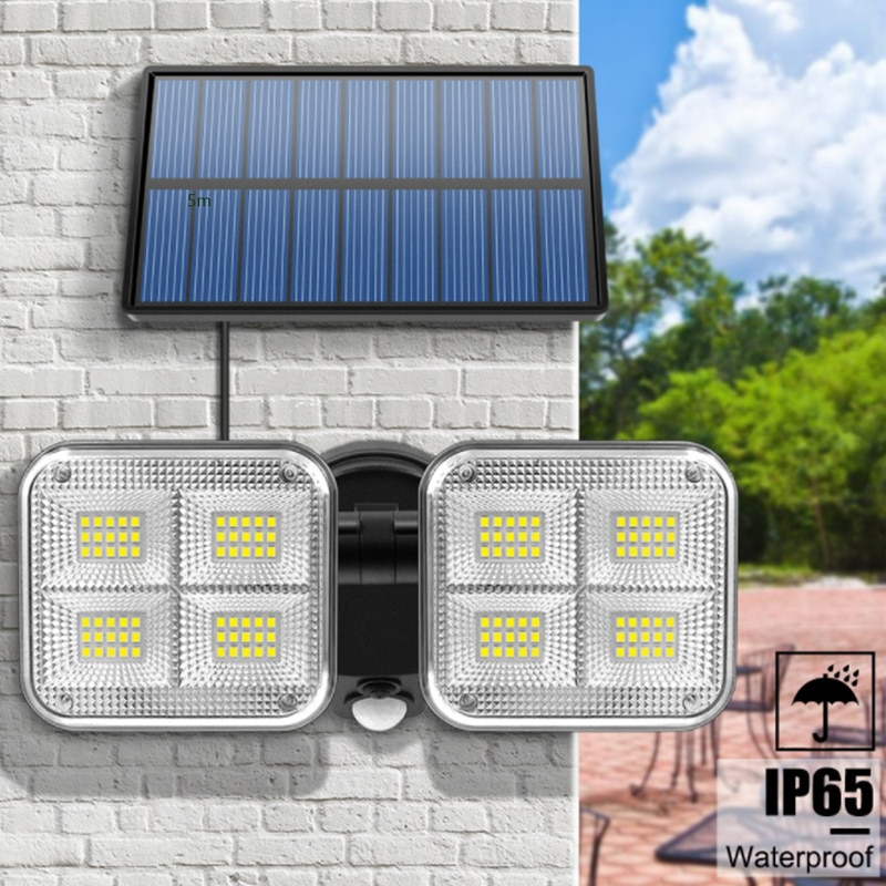 New 20w Super Bright Solar Lights 120led IP65 Waterproof Outdoor Indoor Solar Lamp with Adjustable Head Wide Lighting Angle