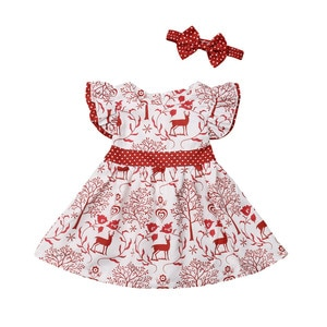 Christmas Toddler Kids Baby Girls Deer Bowknot Pageant Party Formal Dress Christmas Dress