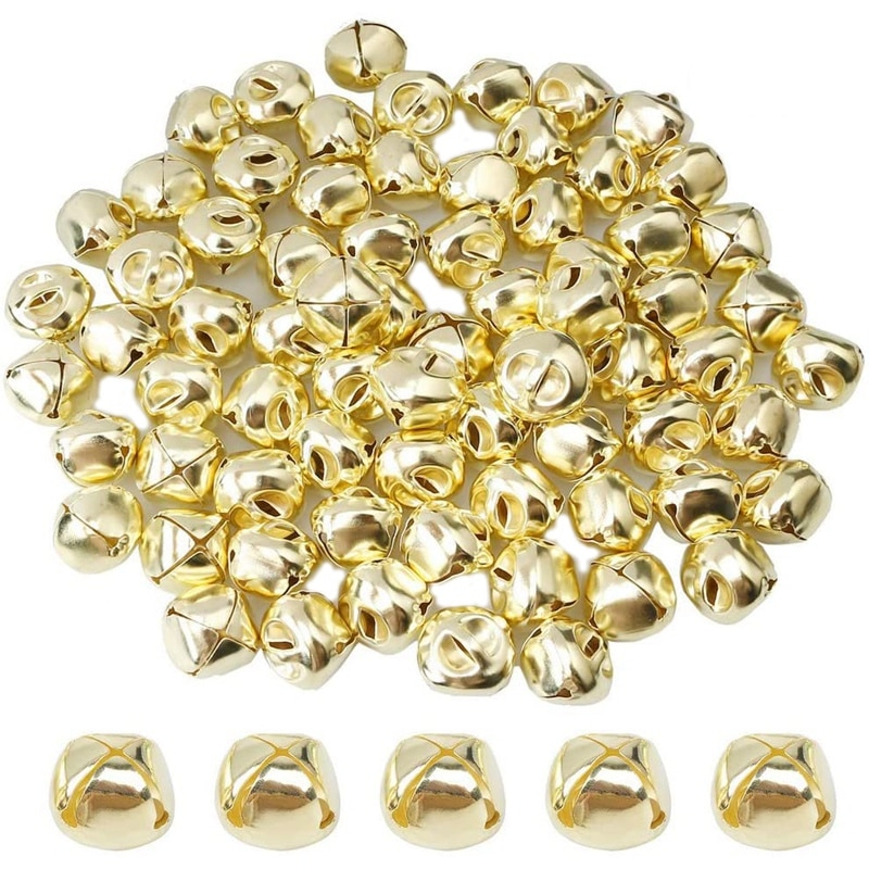 100 Pieces Jingle Bells, 15mm Metal Jingle Bells Mini Craft Bells Beads for DIY Gold 50pcs christmas jingle bells metal little bells decoration colorful mix color party diy beads christmas jewelry accessories