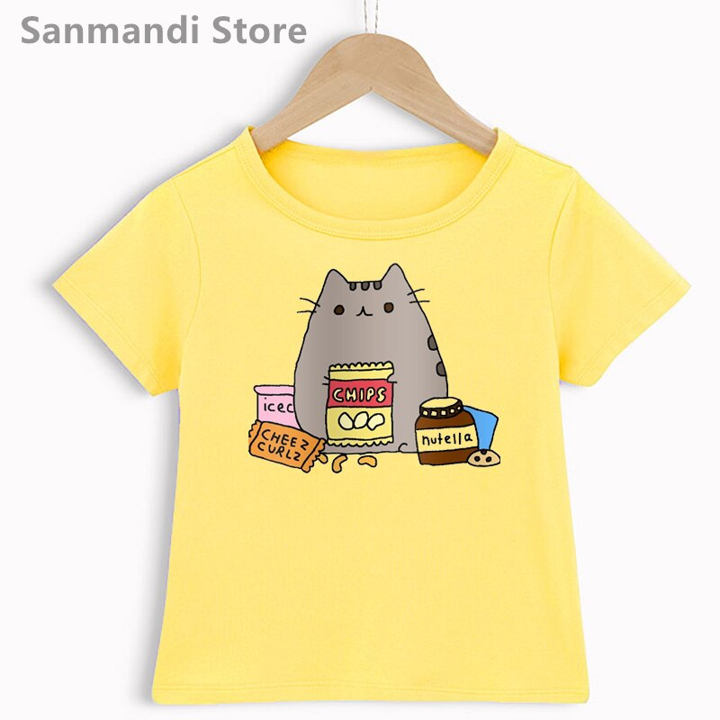 Coffee Cat Love Nutella Graphic Print Tshirt For Girls/Boys Funny Kids Clothes Harajuku Shirt Kawaii Children Clothing T Shirt