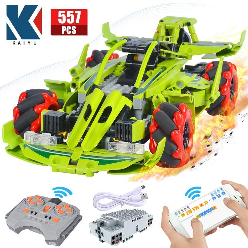 KAIYU 561PCS 4WD City Remote Control Rotating Drift Racing Car Bricks Technical RC Supercar vehicle Building Blocks Toys for boy