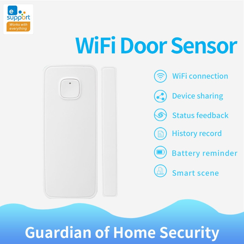 Sensor de ventana de sensores inteligentes de puerta WiFi, Control de enlace de aplicación EWeLink con toma de interruptor Ewelink, No se necesita Hub, para la seguridad del hogar