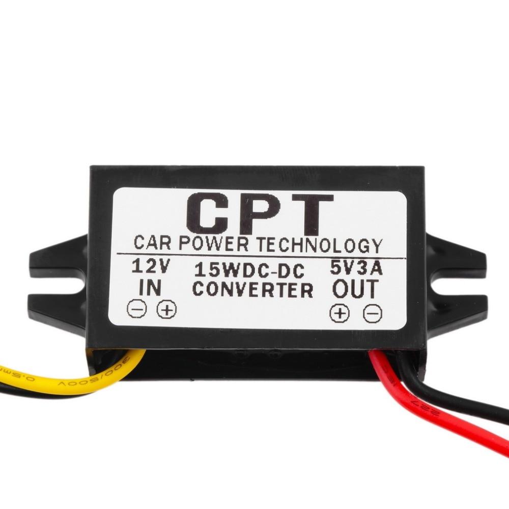 1PCS Waterproof AC/DC Adapters DC/DC Converter Regulator 12V to5V 3A 15W Car Led Display Power CPT Car Power Step Down Regulator