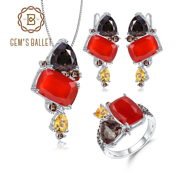 GEM'S الباليه-طقم مجوهرات من الفضة الإسترليني عيار 925 ، وخاتم وأقراط وقلادة وحلوى العقيق الأحمر الطبيعي ، للنساء