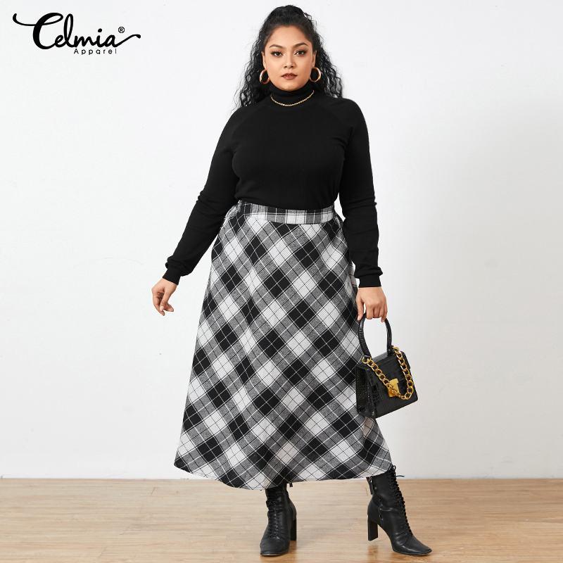 2021 Autumn Celmia Long Skirt Fashion Office Checked Plus Size Vintage Women Plaid Maxi Skirts Pocket Casual Loose Party Skirt