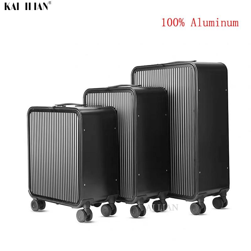 """1620 20 20 """"24"""" polegadas 100% alumínio mala de viagem cabine trole bagagem saco de negócios na roda tas lock carry on rolando bagagem"""
