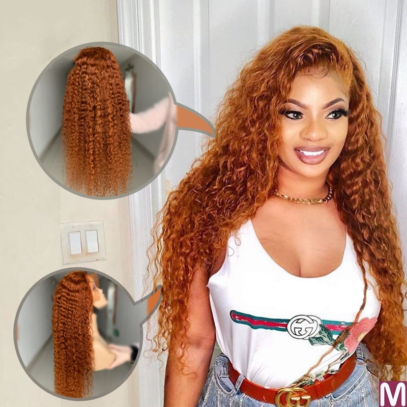 Orange Deep Curly Wave Wig Human Hair Wigs  With Baby Hair 180 Density