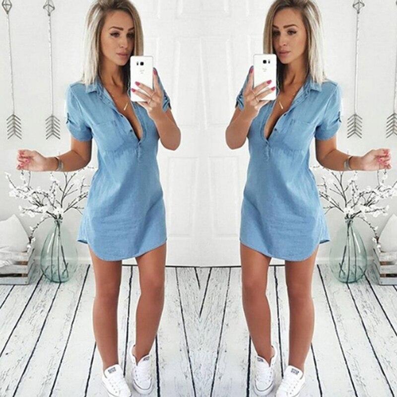Джинсовые рубашки GAOKE, новые модные женские однотонные Макси-блузки из денима с коротким рукавом, женские повседневные свободные пикантные ...