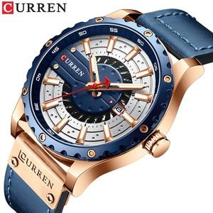 CURREN Watches Top Luxury Brand Waterproof Leather Sport Wristwatch Casual Quartz Men's Watch With Luminous Hands Male Clock