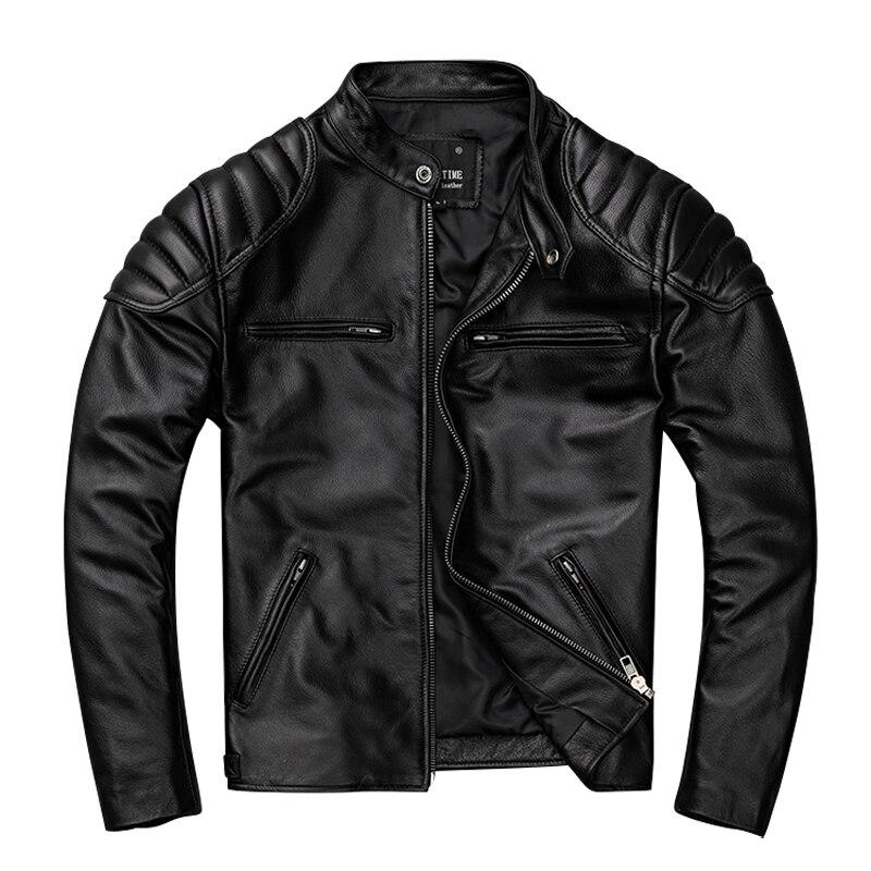 جلد الرجال قصيرة الوقوف طوق سترة دراجة نارية سترة جلدية نقية الرجال سترة اتجاه الملابس واحدة