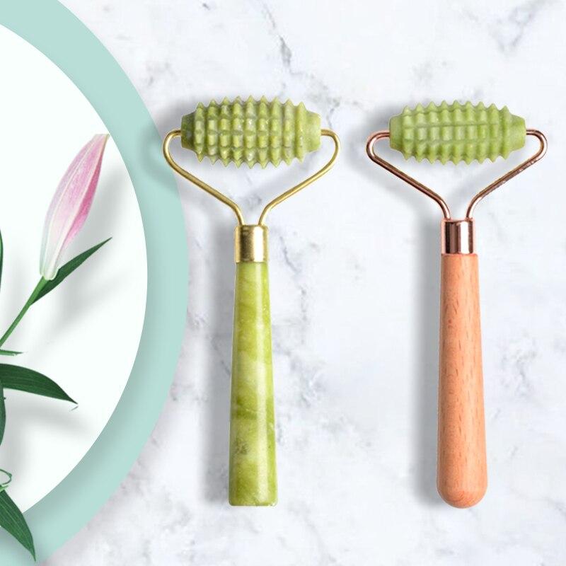 Home jade massage roller wooden handle Jade handle Barbed roller Xiuyan  facial massage stick facial massage roller jade roller