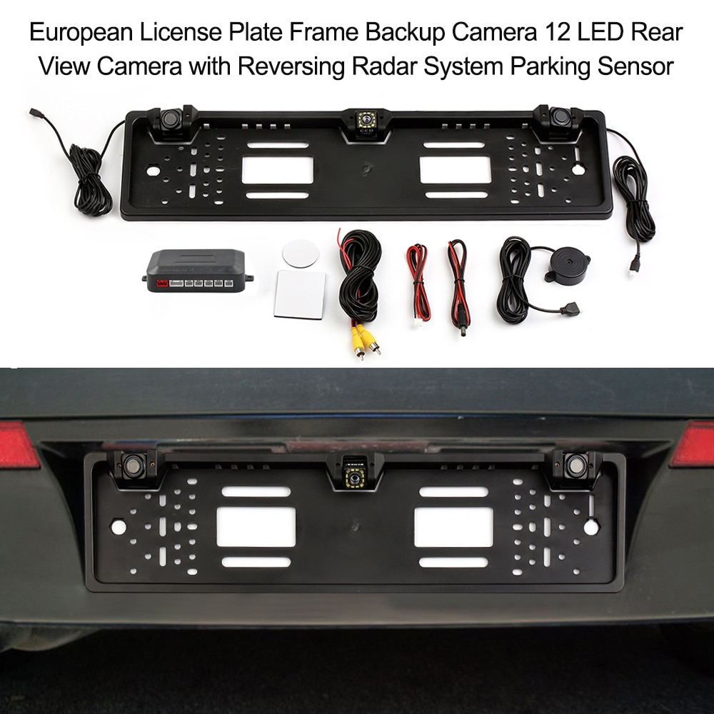 European License Plate Frame Backup Camera 12 LED Rear View Camera with Reversing Radar System Parki