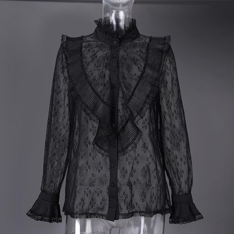 2020 ZANZEA mujer Blusa de encaje stitching moda Sexy transparente superior manga larga volantes camisas botón femenino Blusas de talla grande