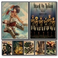 WTQ     affiches de peinture sur toile  dessin anime attaque sur Titan  retro  decor mural  tableau dart mural pour decoration de salon  decoration de maison