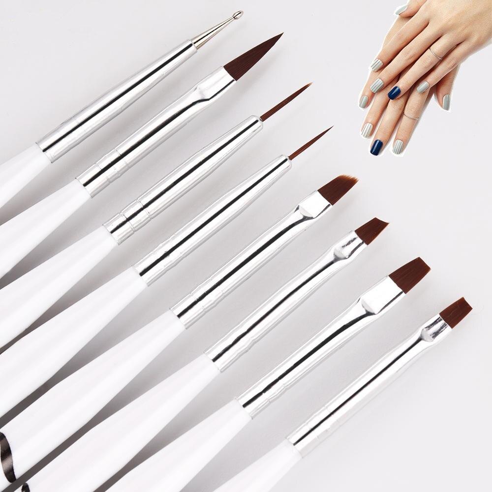 8 pçs/pçs/set linhas de listras francesas arte do prego acrílico líquido em pó forro pintura design escova picking caneta manicure ferramenta