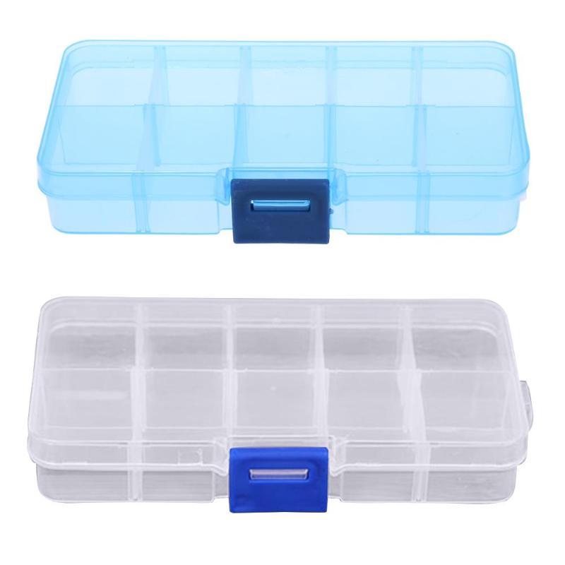 10 ranuras de plástico transparente caja de almacenamiento vacía herramientas de diamantes de imitación para uñas cuentas de joyería caja de almacenamiento organizador de caja