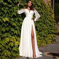 romantic o neck satin and chiffon wedding dress 2021 applique long sleeveless sweep train a line slit bridal gowns
