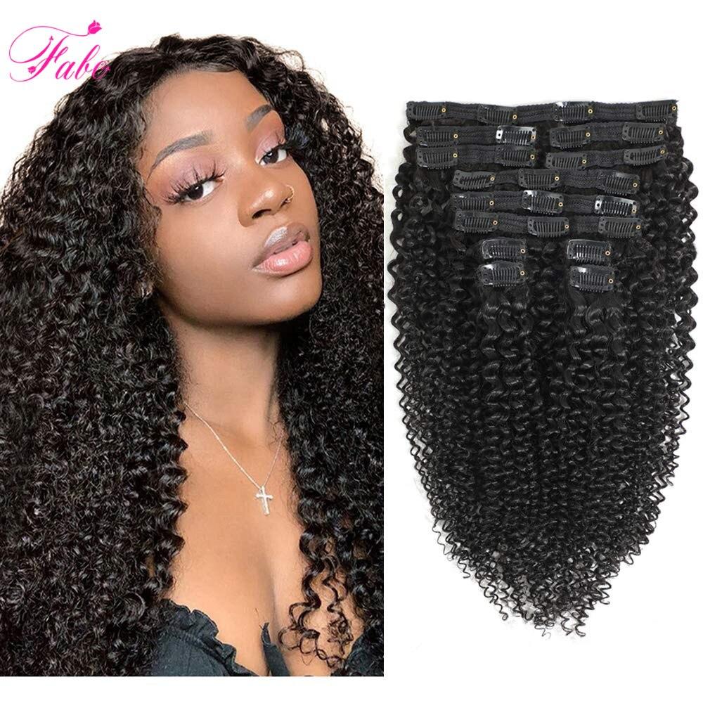 Кудрявые вьющиеся волосы Fabc, заколка для волос, человеческие волосы для наращивания, 10 шт./компл. 4B 4C, монгольские человеческие волосы без по...