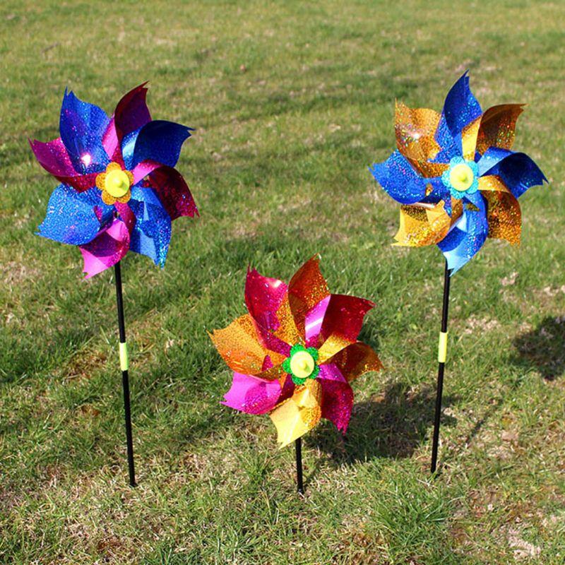 2 unids/set Spinner de viento brillante molino de viento colorido decoración del jardín fiesta niños juguetes Pinwheel al Aire Libre juegos regalos