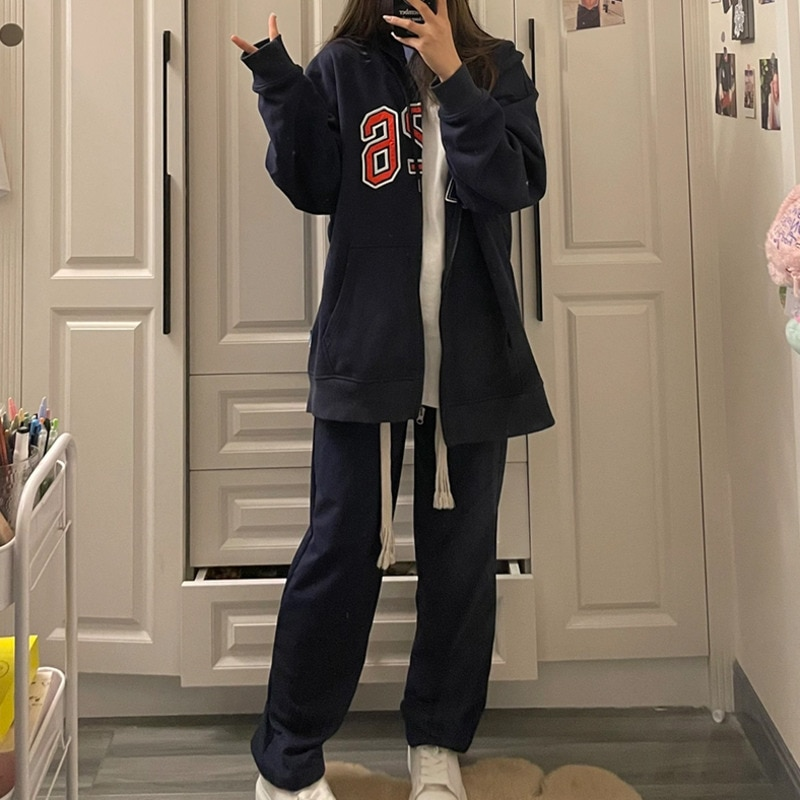 Women's Sets Oversize Autumn Cool Girl Student Cardigan Hooded Sweater Loose Coat Sports Casual Pants Age Reduction Two-piece