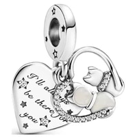 2021 new 925 sterling silver pan charm cat and love pendant suitable for diy bracelet as jewelry