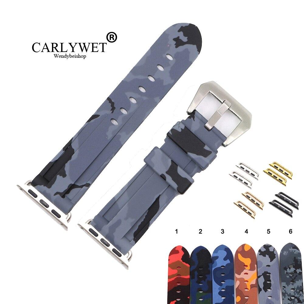 Preto à Prova Pulseira de Relógio de Pulso para Iver Carlywet Camo Cinza Dwaterproof Água Silicone Borracha Substituição Series 4 – 3 2 1 38 40 42 44mm