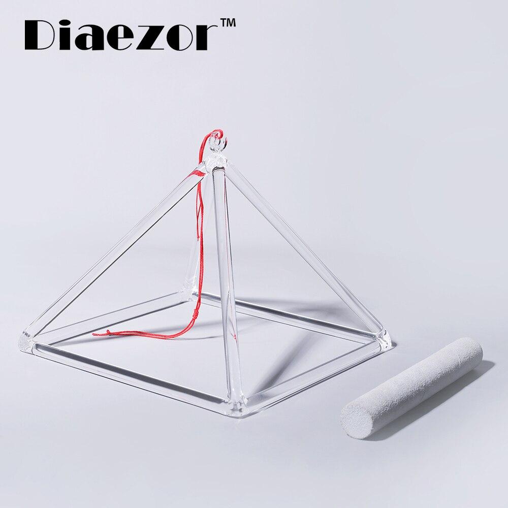 """Diaezor 5 """"curar Musical Insrument de cristal de cuarzo cuenco pirámide + de mazo de Yoga de oración-5 pulgadas"""