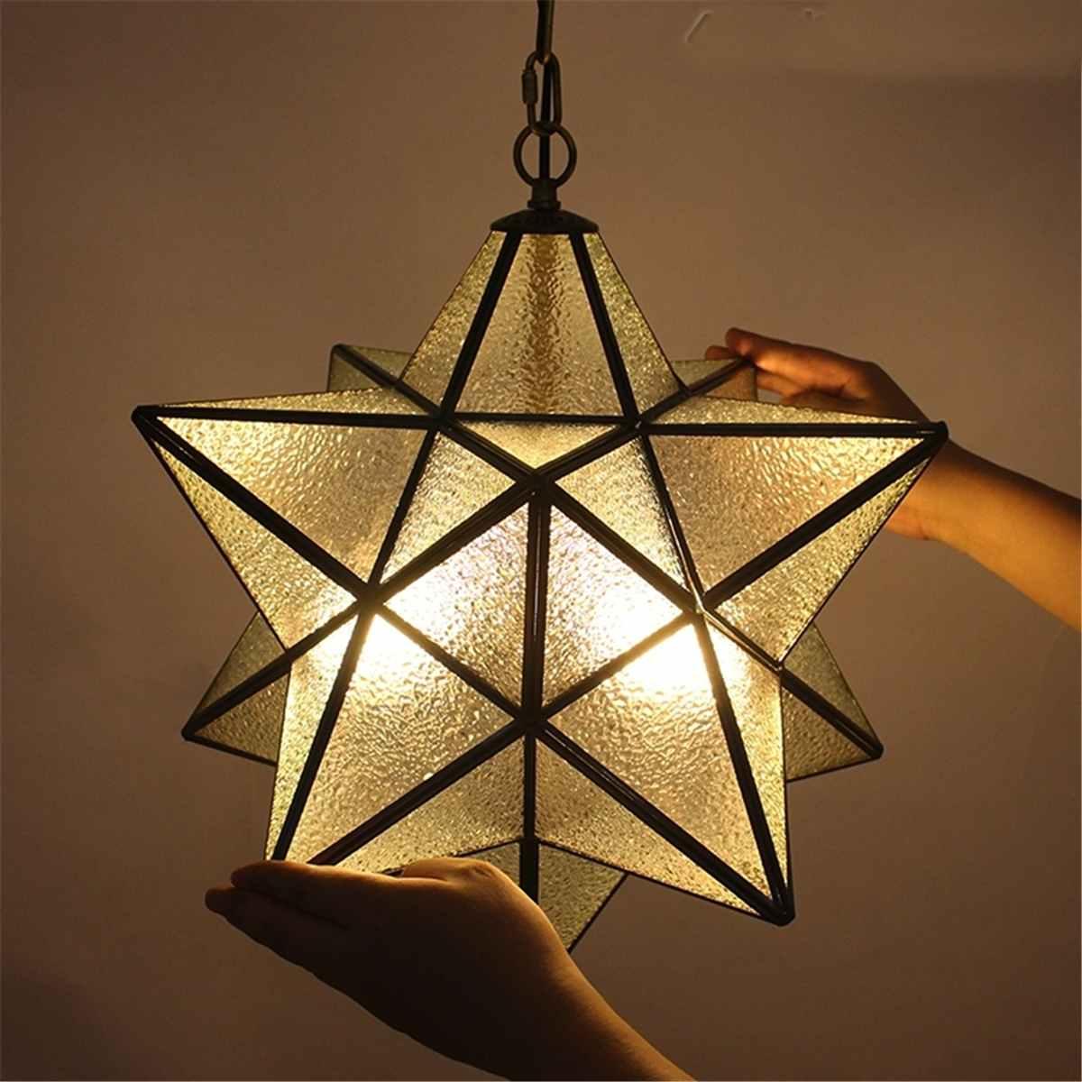 Lámpara colgante de cristal de estrella Morava, lámpara moderna, accesorio decorativo