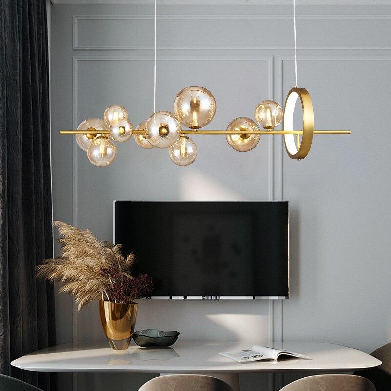 LED ما بعد الحداثة الزجاج فقاعة الذهبي الأسود شمعدان دائري الإضاءة تعليق الإنارة Lampen للبهو
