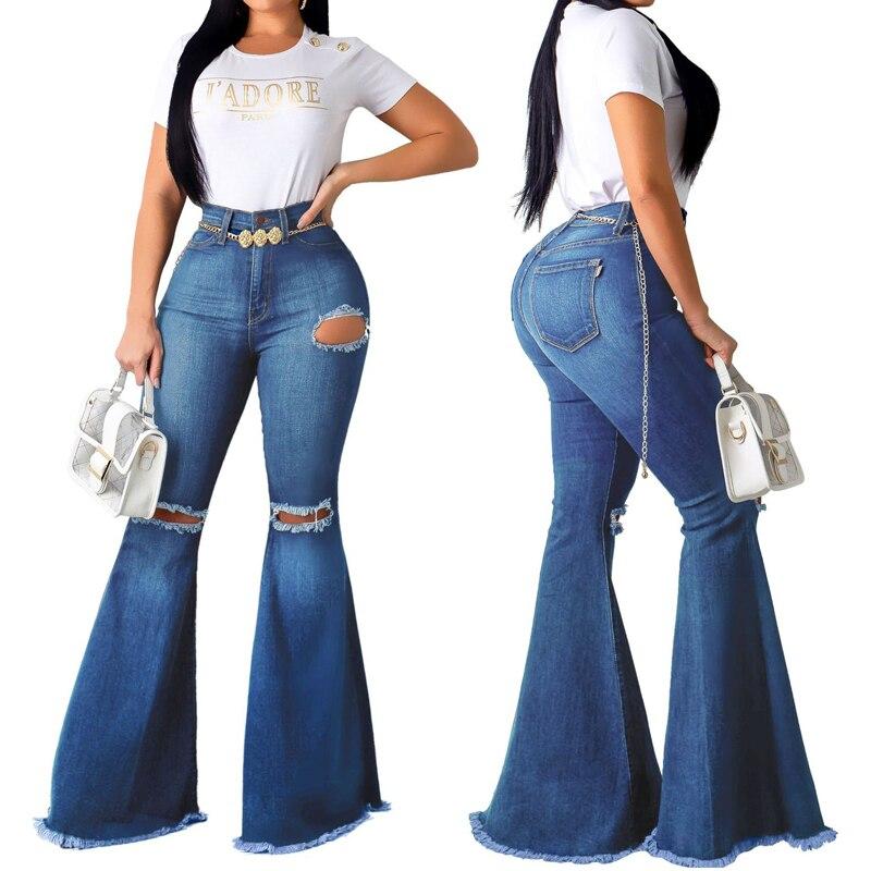 2019 Summer New Women's Sexy Fashion Joker Knee Holes Jeans Elastic Skinny Women's Denim Flare Pants
