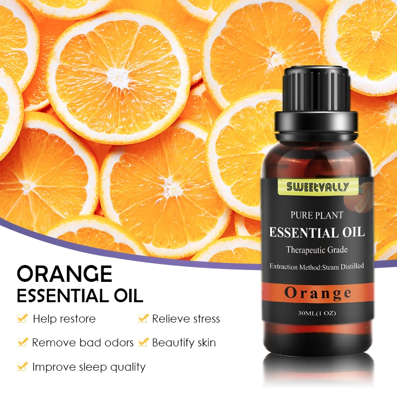 Venta al por mayor de aceites esenciales de aromaterapia naturales puros de naranja purificación de aire bruma respiración suave baño Spa repelente de insectos Essen