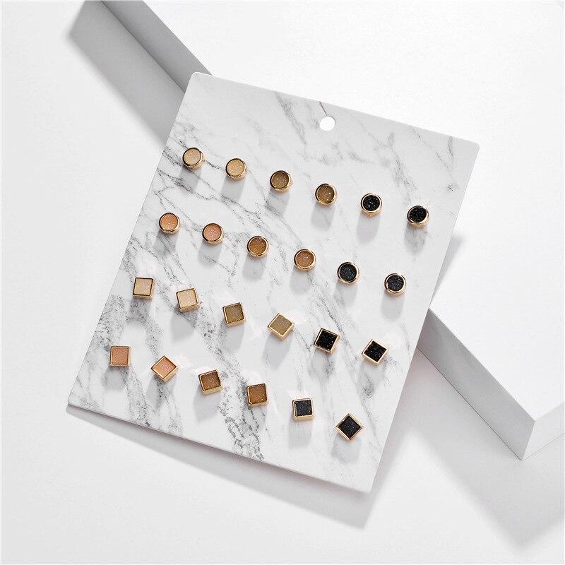 Joyería de moda, 12 par/paquete, pendientes de piedra de resina drusa, conjunto de Mini cuadrado redondo pendientes de semental hembra