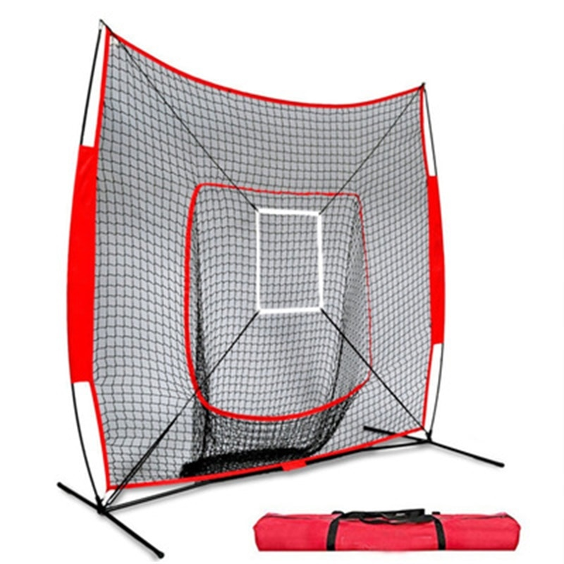 7' x 7' Baseball & Softball Practice Net Set with Travel Tee Zone for Hitting Pitching Batting & Fielding  Collapsible Portable