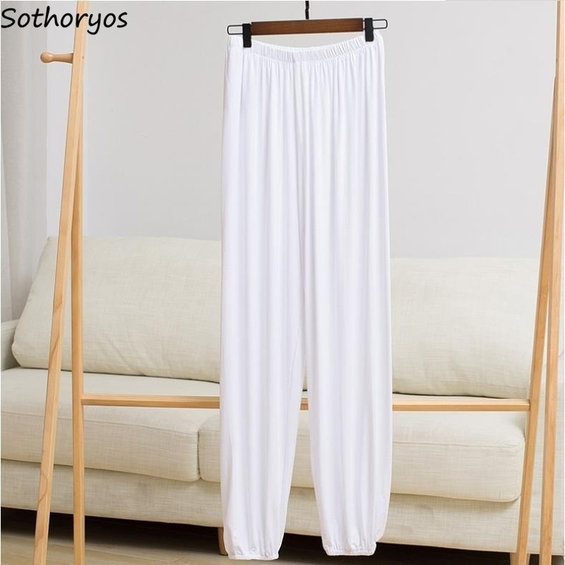 Pantalones de dormir sólidos de verano delgados modales transpirables de talla grande 4XL ropa de dormir pijama Pantalones de mujer parejas plisado cómodo nuevo