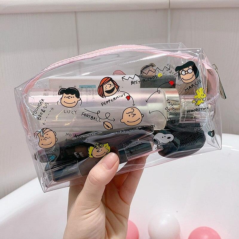 Bolsa de maquillaje de dibujos animados VSCO para chicas, bolsa de cosméticos transparente para mujeres, Kit de maquillaje con cremallera de PVC, neceser de viaje, organizador, estuche protector de belleza