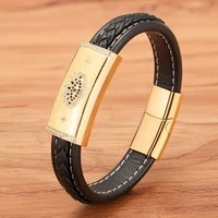 big sale zircon combination leather totem sccessories classic stainless steel mens leather bracelet for lucury classic gift