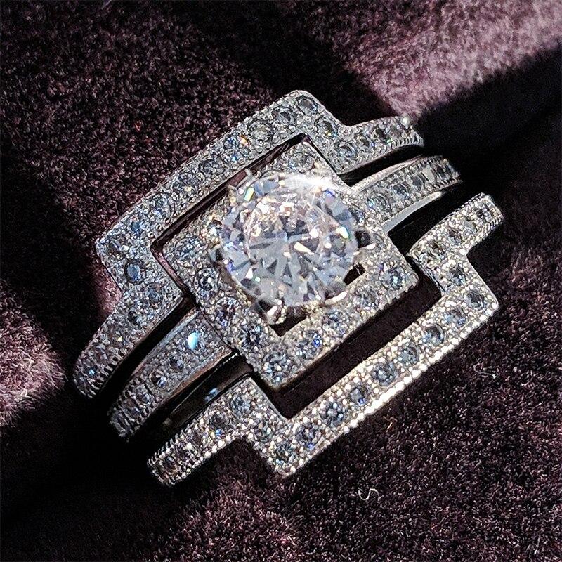 Moonso luxo 3 pçs 925 prata austríaco cristal anel princesa cz noivado anel de casamento para mulher personalizado lr1431s