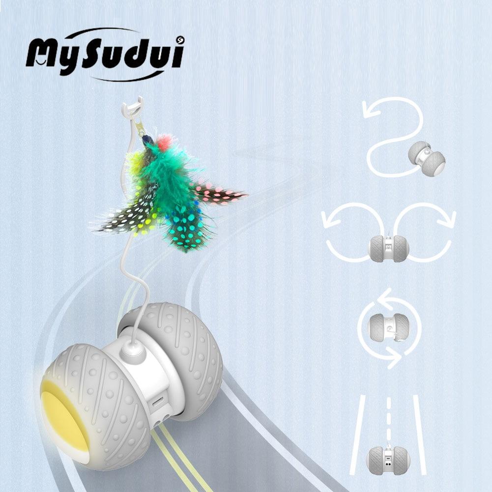 Умная Электронная игрушка для кошек, Интерактивная Автоматическая вращающаяся игрушка для бега, светодиодный тизер, забавная игрушка для к...
