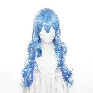 DATE A LIVE tohka Yatogami 70 см длинное платье для девочки с голубыми волнистыми парик теплостойкий синтетических волос Костюмы для косплея Хэллоуин вечерние + бесплатная парик Кепки
