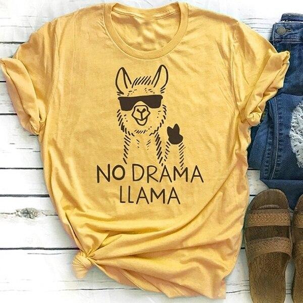 VIP HJN No Drama Llama oveja Animal impreso moda Camisetas Mujer verano letras divertidas camisetas gráficas