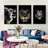lions head black background nordic painting on canvas posters and prints cuadros wall art pictures for living room