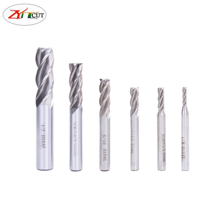 6pcs/set 1/16 3/32 1/8 5/32 3/16 1/4inch High Speed Steel 4 Flute English End Mill Cutter HSS  straight shank milling cutter