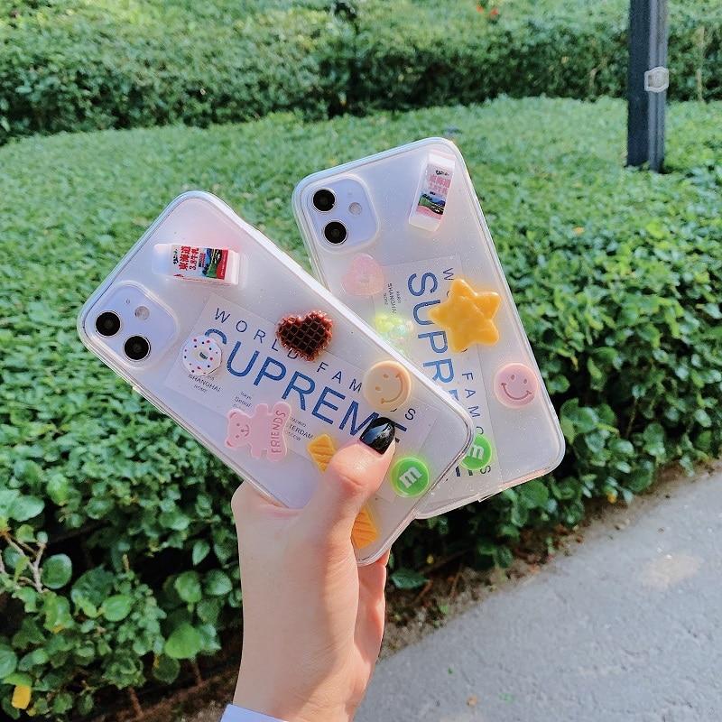 3D botella de leche galleta teléfono carcasa para iPhone 6 6S 7 8Plus X XR XSMAX 11 11Pro 11Promax transparente TPU cubierta trasera de silicona