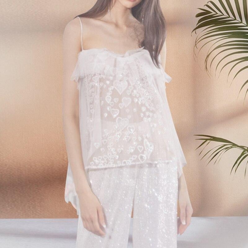 Aipeace pijamas sexy para mulheres sleepwear sem mangas pijamas em mujer feminino sem alças pijamas de renda calças