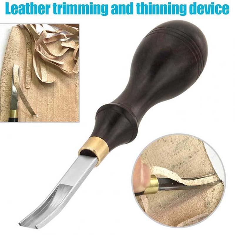 DIY, hecho a mano, estilo francés, borde de cuero, biselado, corte de borde, cuchillo para artesanía de cuero, herramienta con mango de madera