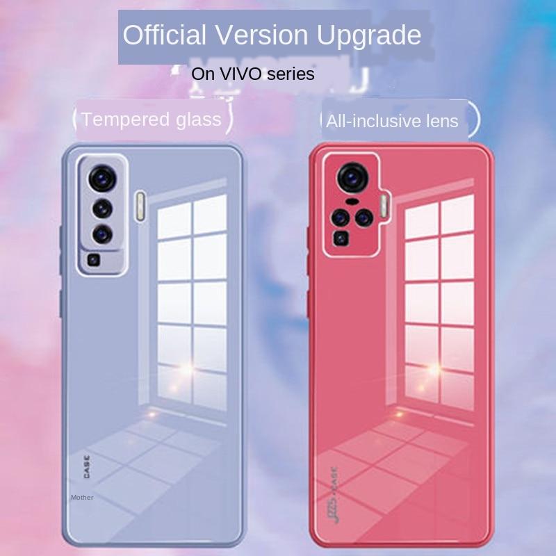 Carcasa de cristal Macaron Color caramelo todo incluido Anti-caída Color sólido Simple para VIVO X50 Pro cubierta